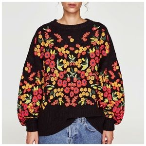 Sweaters - Black Colorful Embroidery Sweater C68